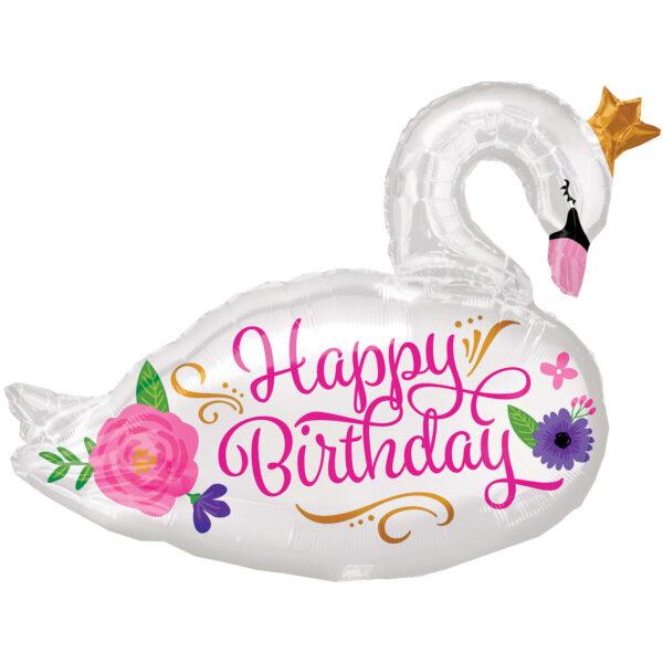 "Folienballon Schwan ""Happy Birthday"""