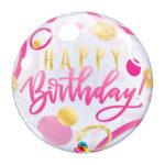 "Folienballon Rund ""Happy Birthday"" rosa"