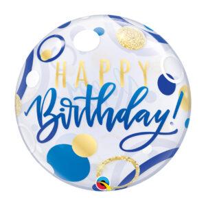 "Folienballon Rund ""Happy Birthday"" blau"