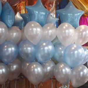 Ballon Bouquet in Blau / Weiß