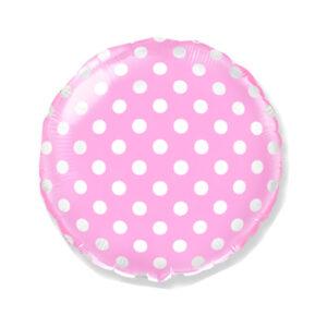 Dekorativer Folienballon Rund, Pink mit Punkten