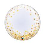 Ballon Bubble Gold Konfetti (aufgedruckt)