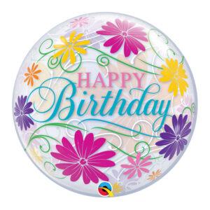 Birthday Flowers & Filigree Single Bubble