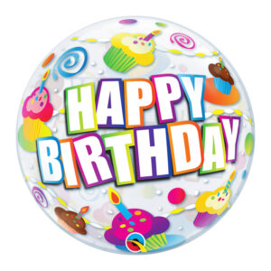 Air Bubble Happy Birthday Cupcakes