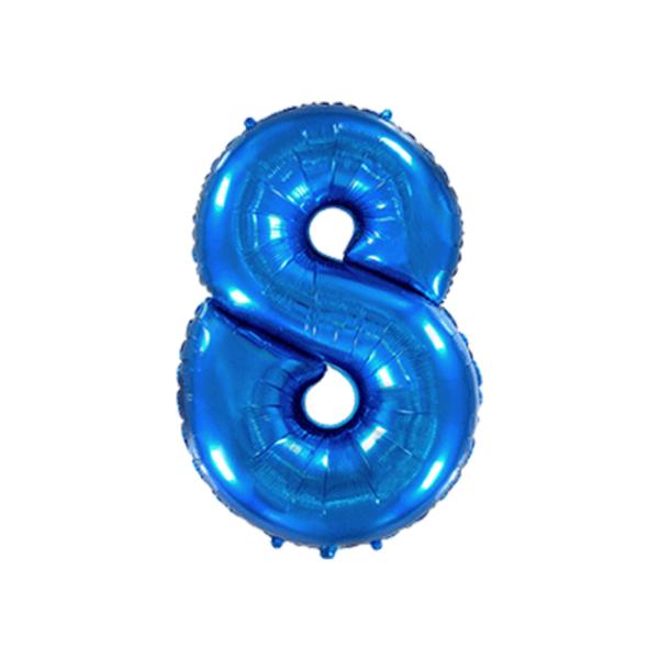 Folienballon Zahl 8 - Blau