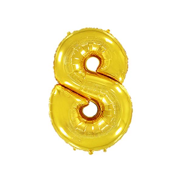 Folienballon Zahl 8 - Gold