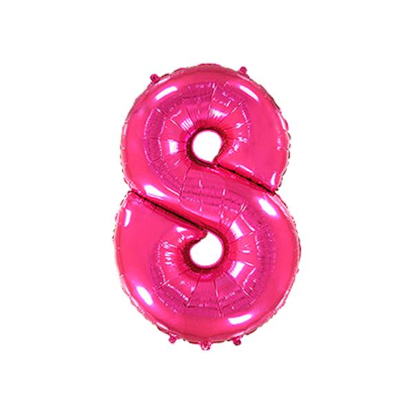 Folienballon Zahl 8 - Pink