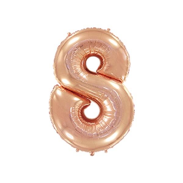 Folienballon Zahl 8 - Rosegold