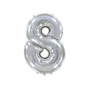 Folienballon Zahl 8 - Silber