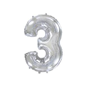 Folienballon Zahl 3 - Silber