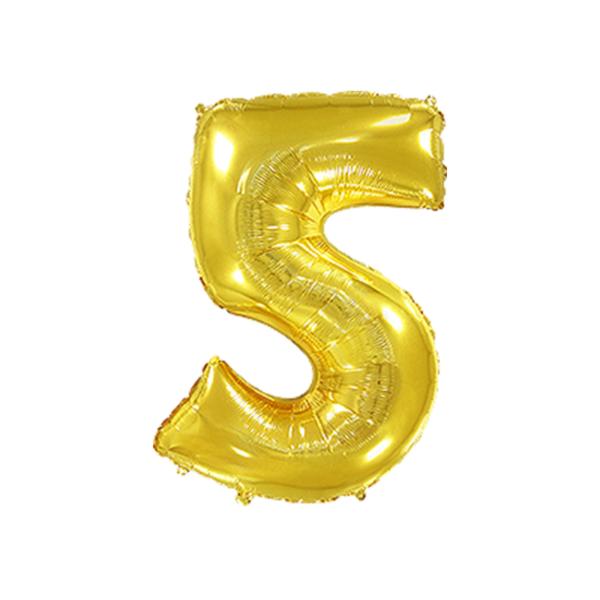 Folienballon Zahl 5 - Gold