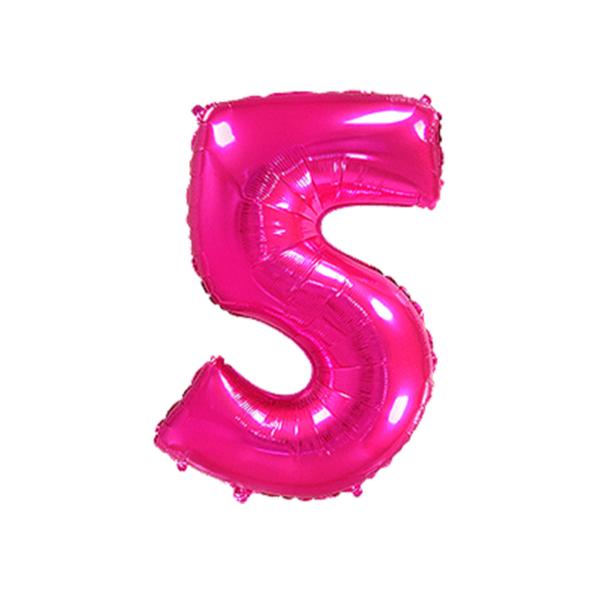 Folienballon Zahl 5 - Pink