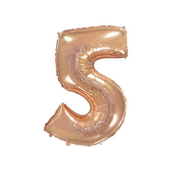 Folienballon Zahl 5 - Rosegold