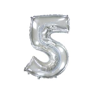 Folienballon Zahl 5 - Silber