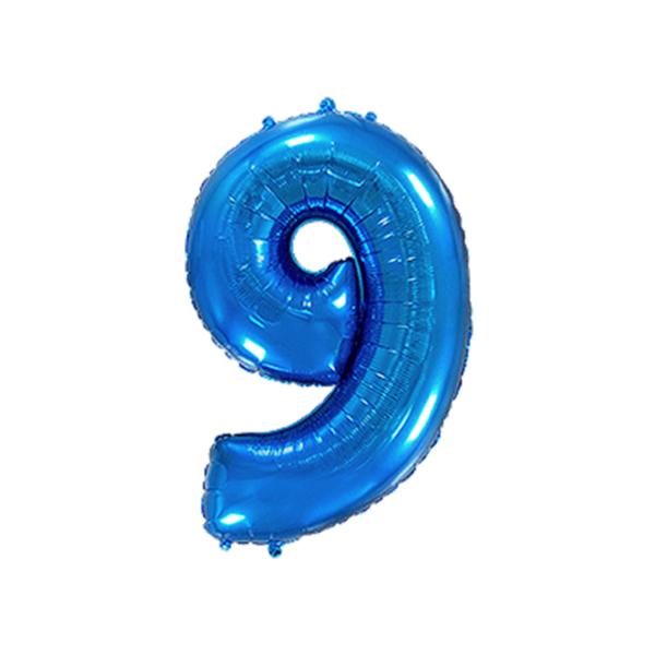 Folienballon Zahl 9 - Blau
