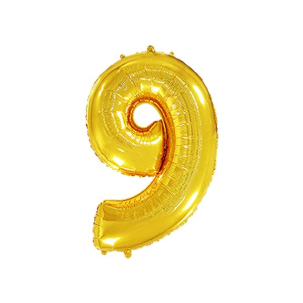 Folienballon Zahl 9 - Gold