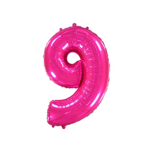 Folienballon Zahl 9 - Pink