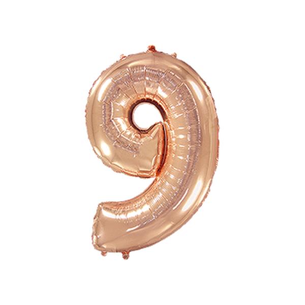 Folienballon Zahl 9 - Rosegold