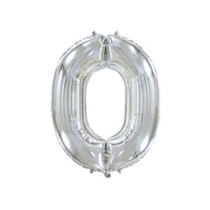 Folienballon Zahl 0 - Silber