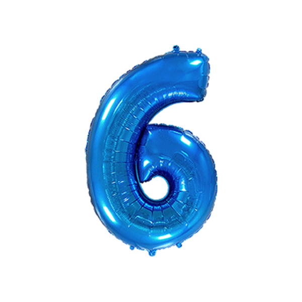 Folienballon Zahl 6 - Blau