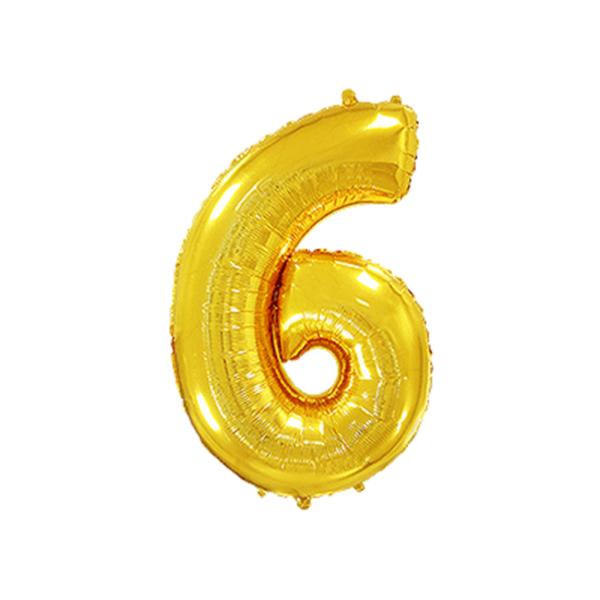 Folienballon Zahl 6 - Gold