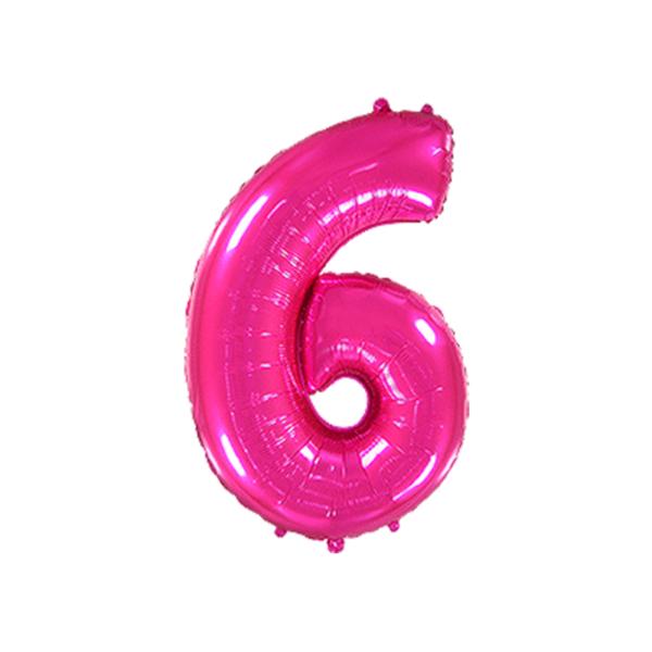 Folienballon Zahl 6 - Pink