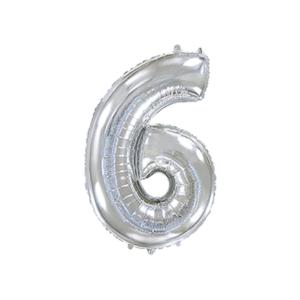 Folienballon Zahl 6 - Silber