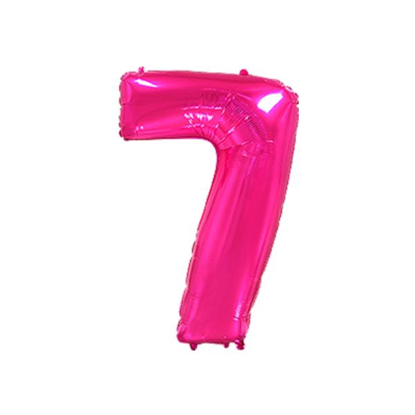 Folienballon Zahl 7 - Pink