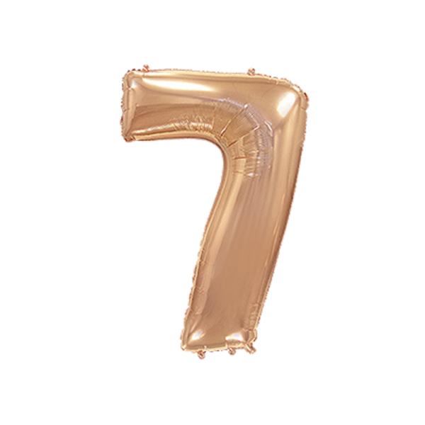 Folienballon Zahl 7 - Rosegold