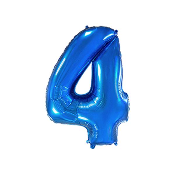 Folienballon Zahl 4 - Blau