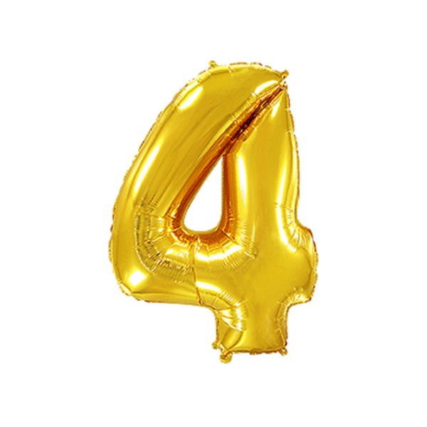 Folienballon Zahl 4 - Gold