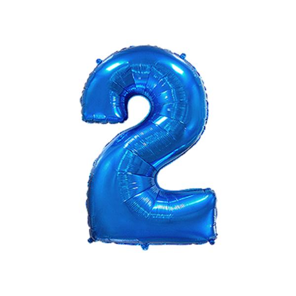 Folienballon Zahl 2 - Blau