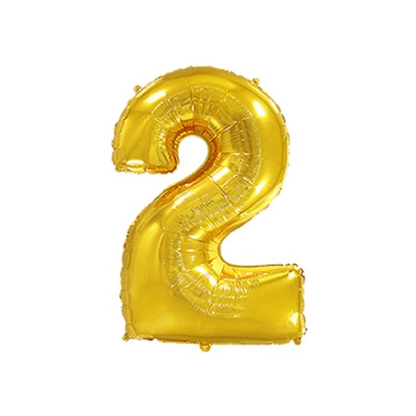 Folienballon Zahl 2 - Gold