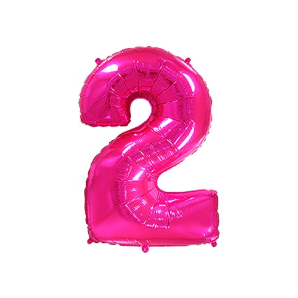 Folienballon Zahl 2 - Pink