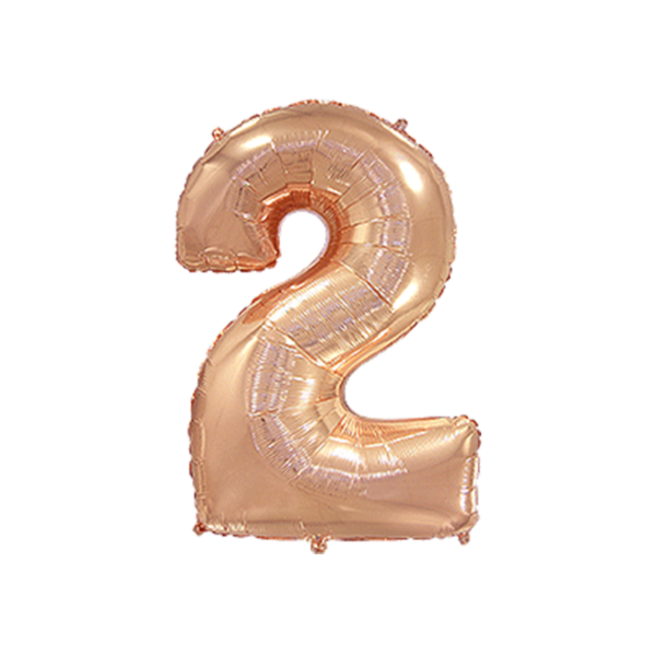Folienballon Zahl 2 - Rosegold