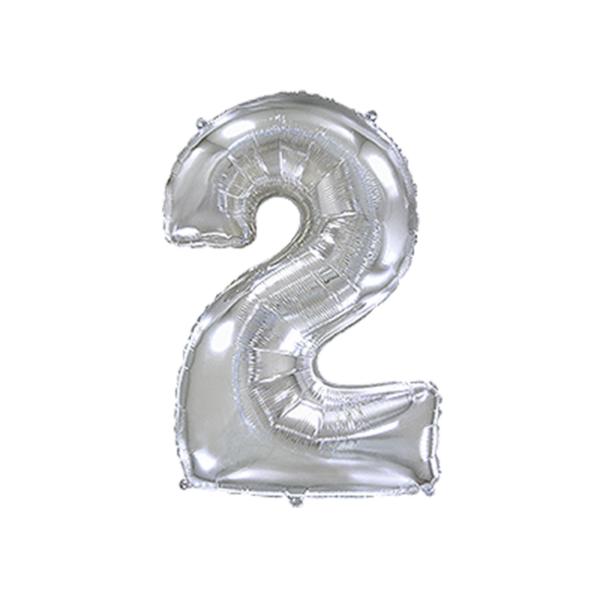 Folienballon Zahl 2 - Silber
